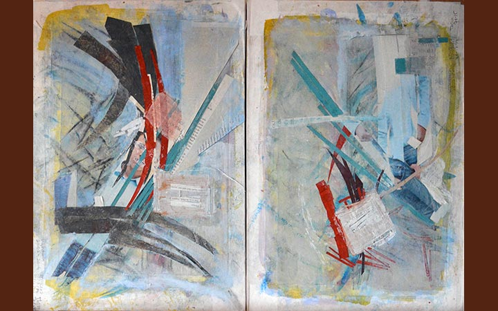 two boys-diptych, collage, acryl, ink, gouache, graphite stick, 54 x 38 cm