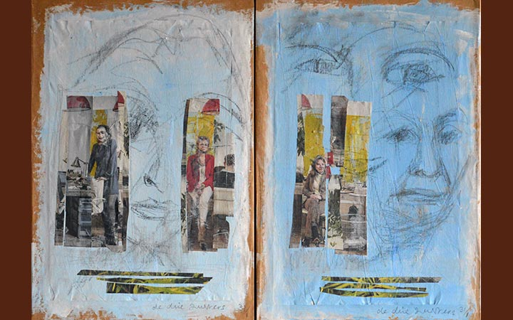 three sisters-diptych, collage, acryl, ink, graphite stick, 52 x 40 cm