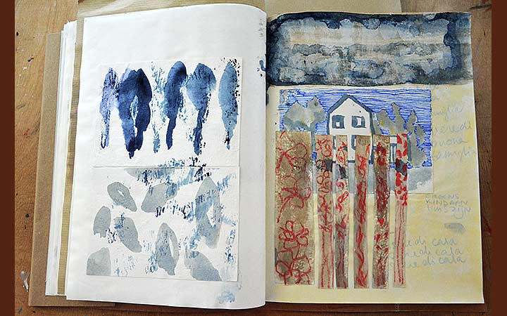 Essere di casa. Porta rosa sketches, various materials, portfolio: 21 x 27,5cm