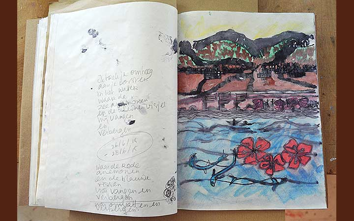 Red anemones and blue fish I. Porta rosa sketches, various materials, portfolio: 21 x 27,5cm